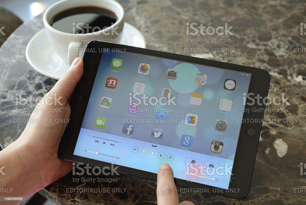 New iOS 7 Control Center screen on iPad Mini royalty-free stock photo