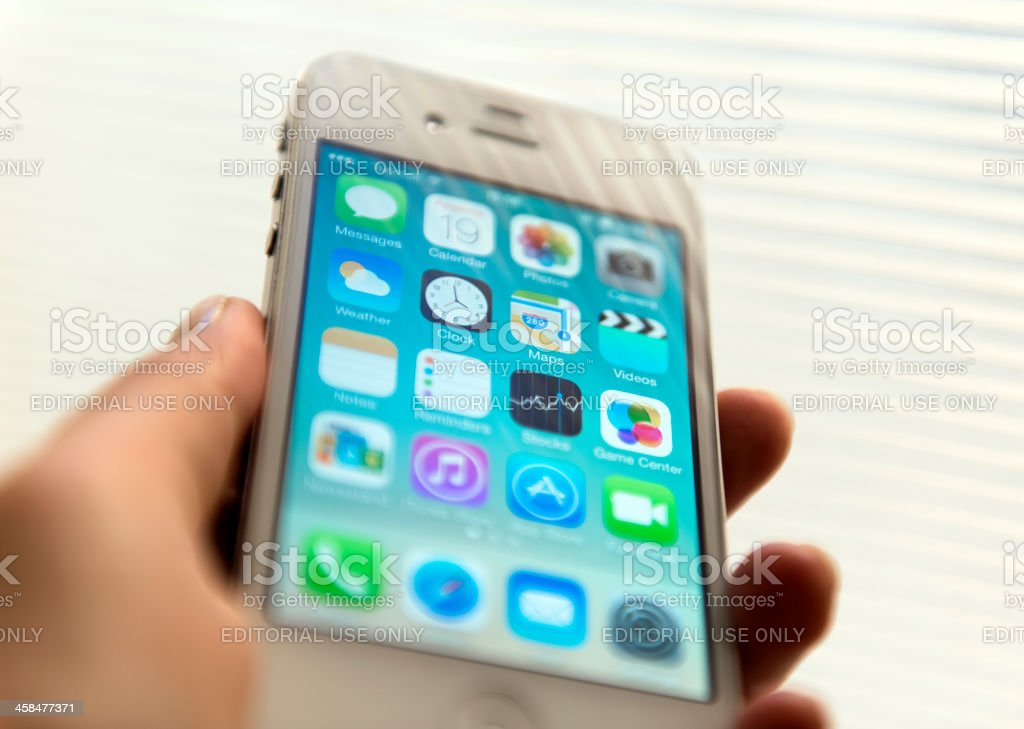 New iOS 7 software on iPhone 4s stock photo