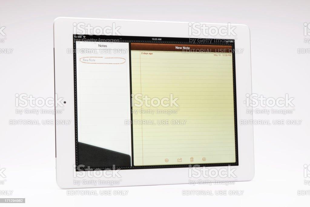 New Ipad notes screen royalty-free stock photo