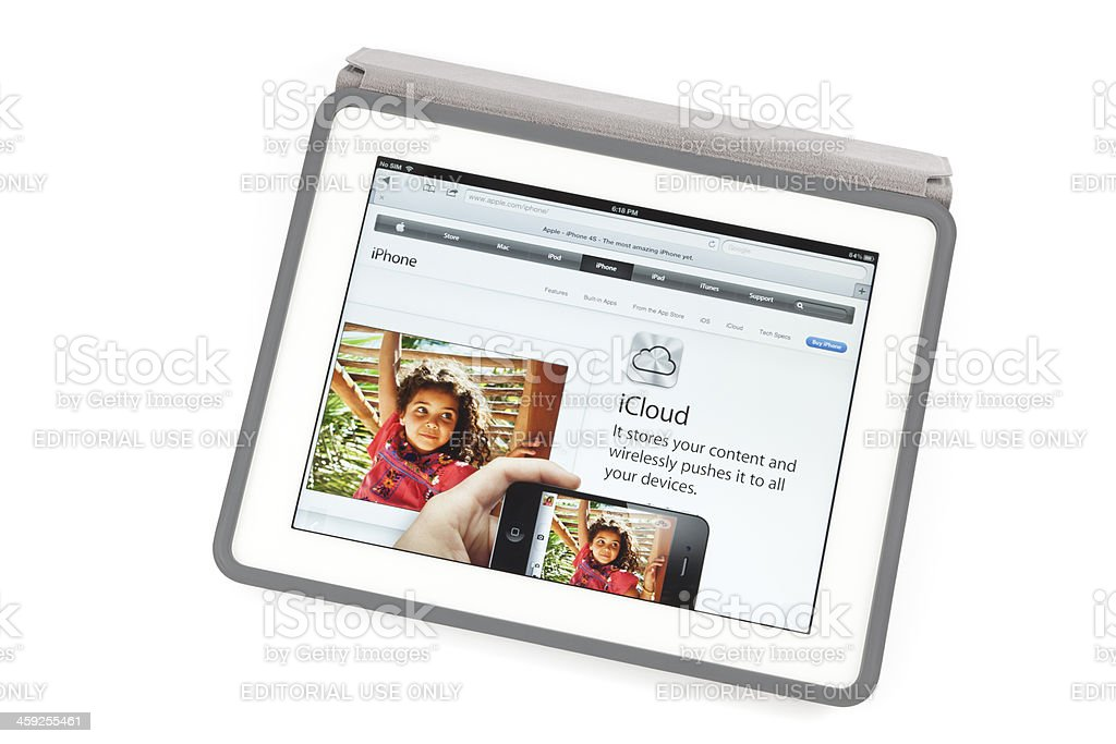 New ipad with apple ads royalty-free stock photo
