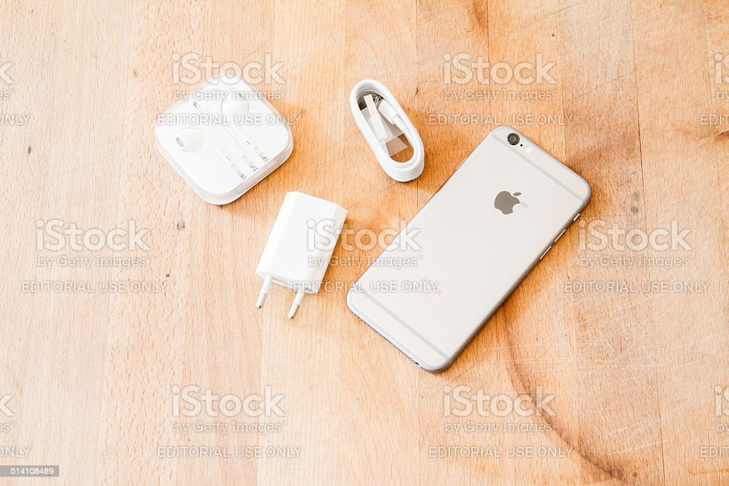 new iphone 6 with cable and headphones stock photo