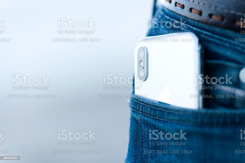 New Iphone X Silver stock photo