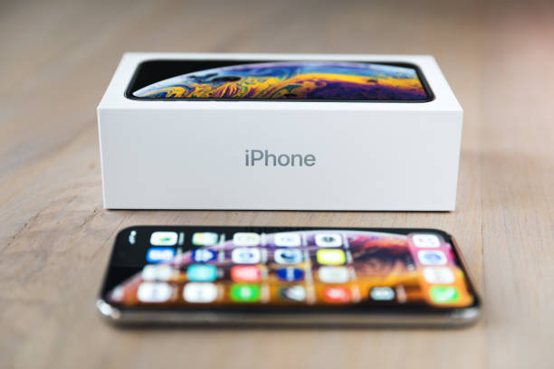 New iPhone XS Silver With The Box stock photo