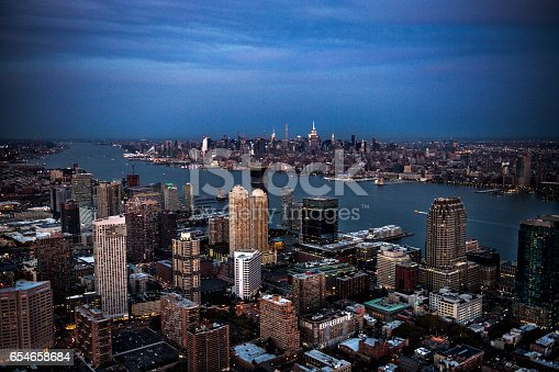 Aerial view of New Jersey, USA and New York city in the distance.