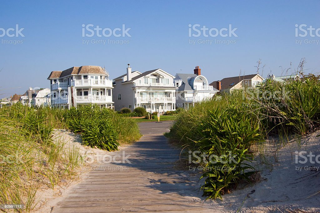 New Jersey Beach houses and boardwallk stock photo