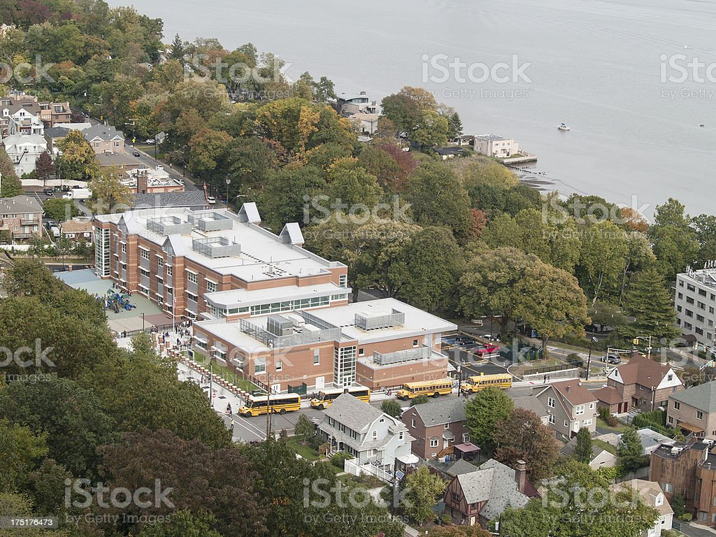 New Jersey School and Waiting Buses stock photo
