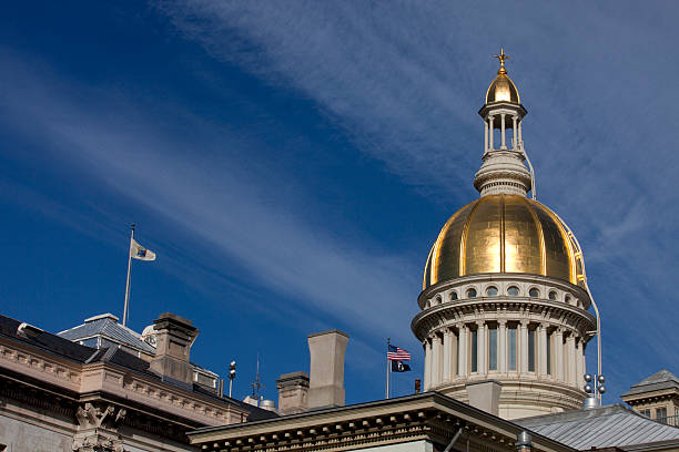 New Jersey State Capitol Building Golden Dome in Trenton stock photo