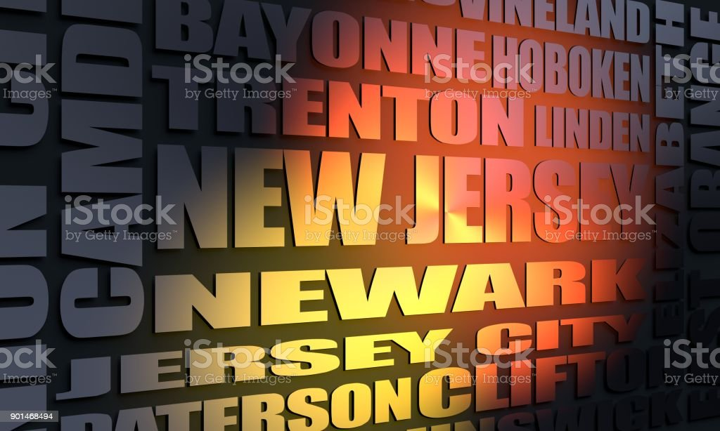 New Jersey state cities list stock photo