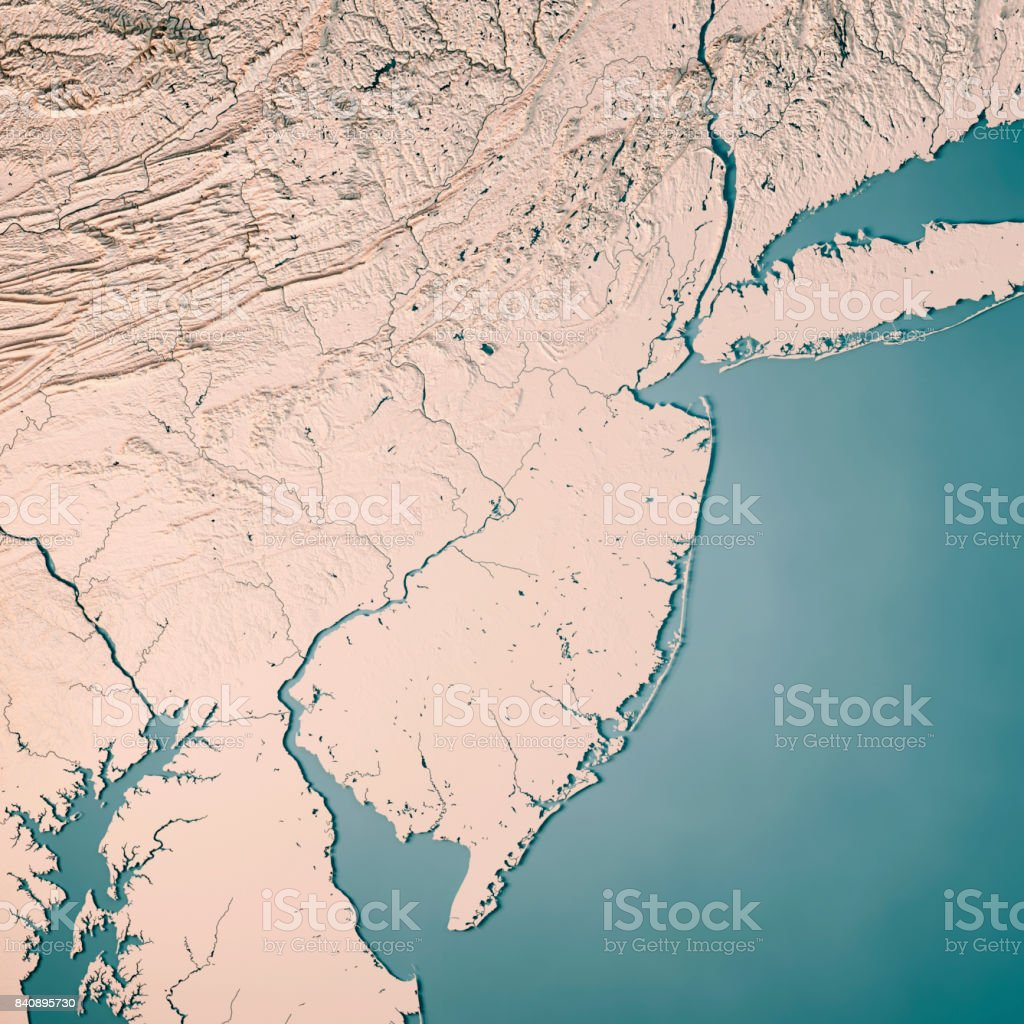 New Jersey State Usa 3d Render Topographic Map Neutral Stock Photo ...