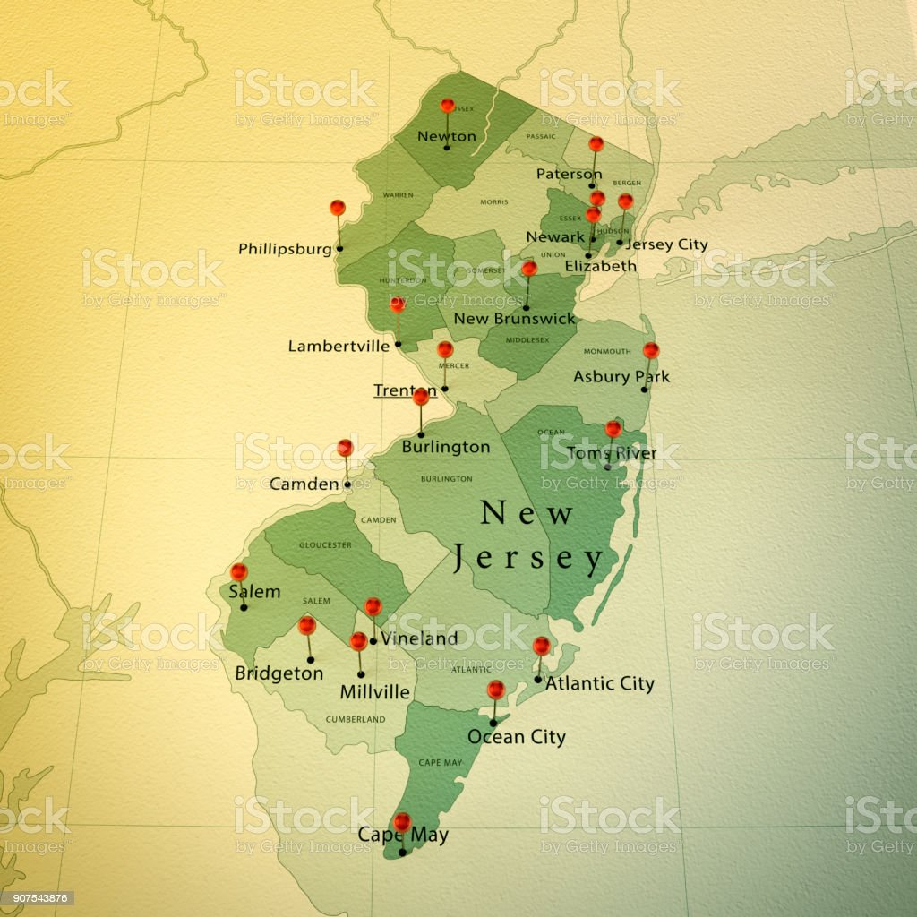 Picture of: New Jersey Us State Map Square Cities Straight Pin Vintage Stock Photo Download Image Now Istock