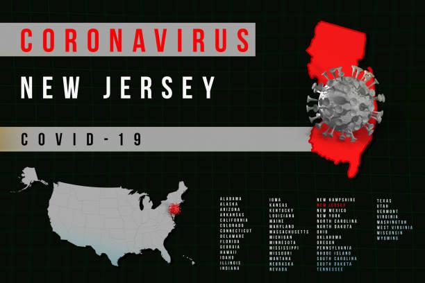 New Jersey USA - Coronavirus COVID-19 map stock photo