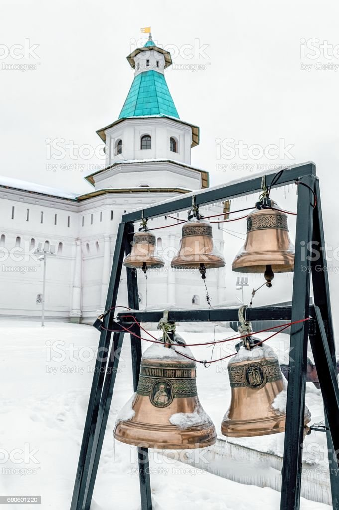 New Jerusalem monastery, Istra, Russia, the bells and bell tower in winter vertically royalty-free stock photo