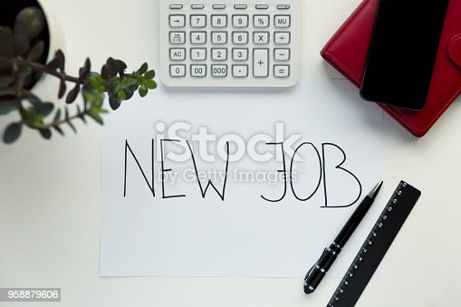 1153648747istockphoto New Job concept with workplace on white wooden desk 958879606