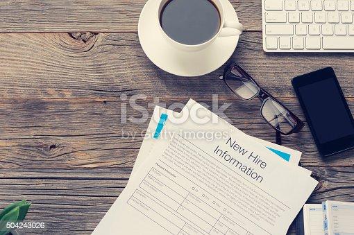istock New job hire form. 504243026