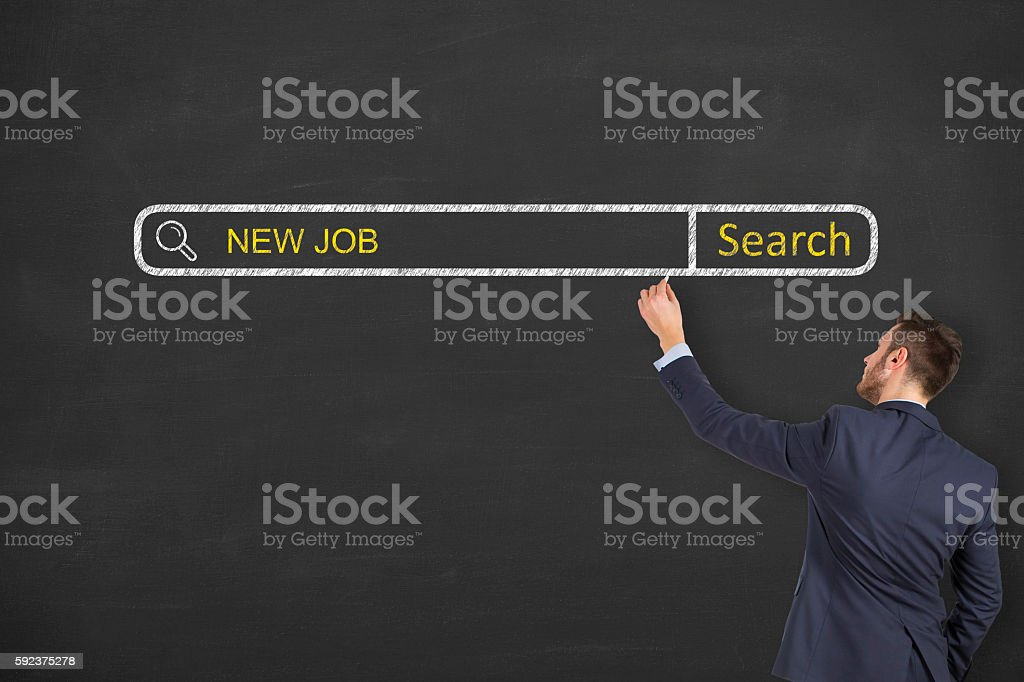 New Job Search Engine on Chalkboard Background – Foto