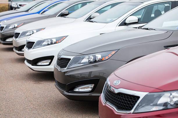 New Kia Optima Vehicles in a Row stock photo