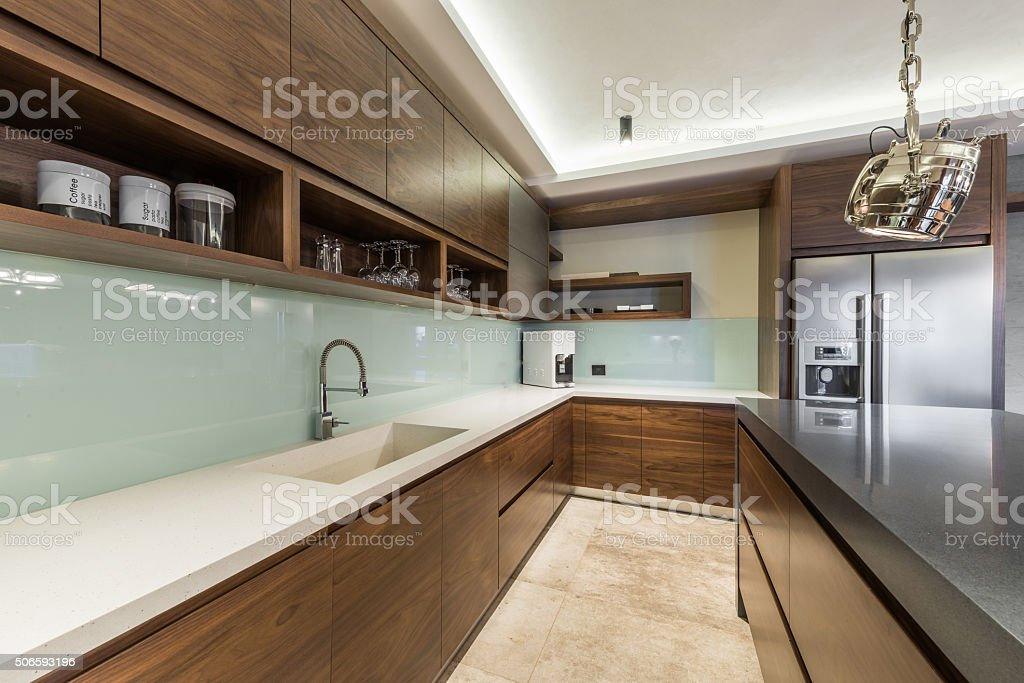 New kitchen in luxury home stock photo