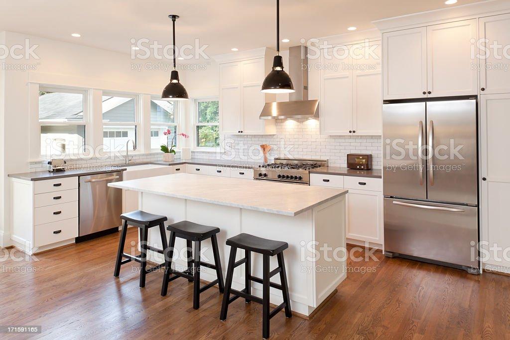 ... New Kitchen In Modern Luxury Home Stock Photo ...