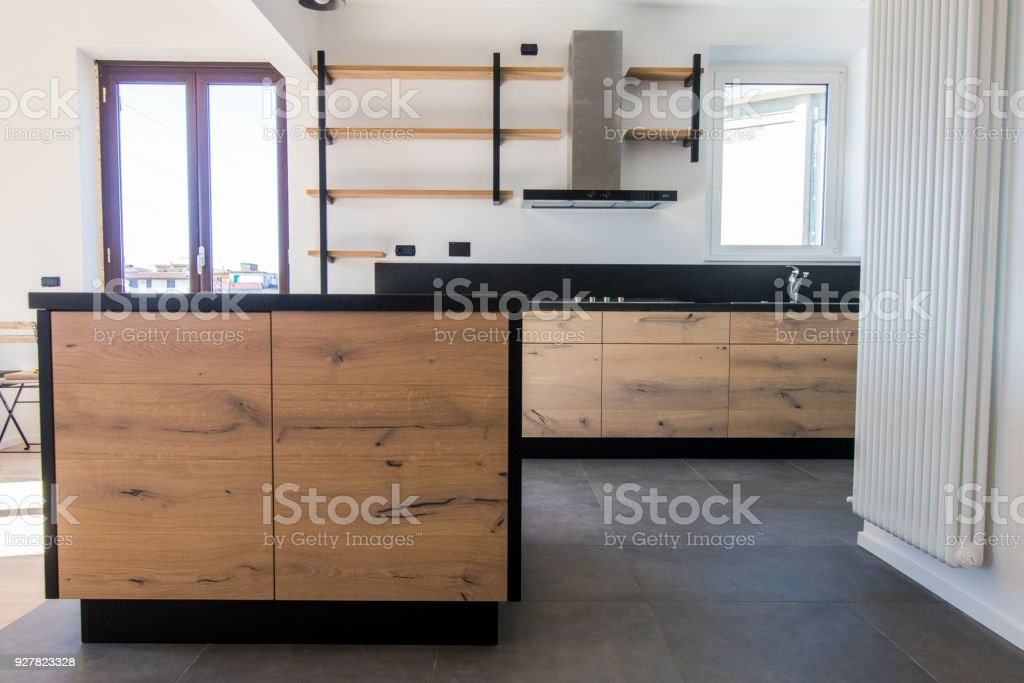 New Kitchen In Oak And Black Granite Stainless Steel With Island Sink Doors
