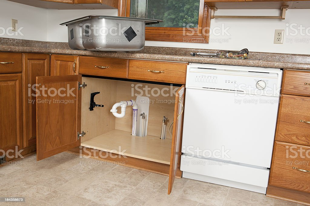 New Kitchen Sink Install royalty-free stock photo