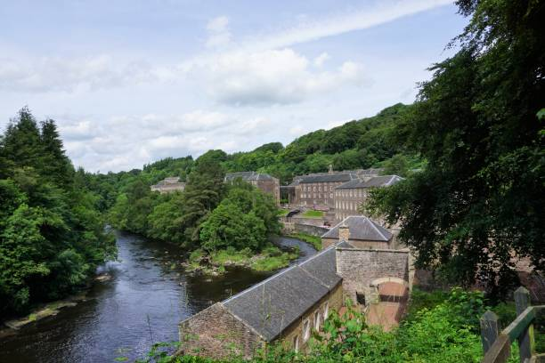 New Lanark and River Clyde stock photo