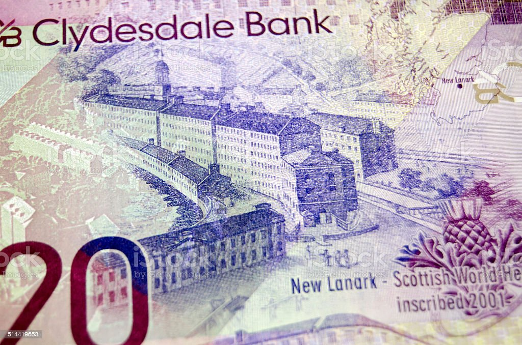 New Lanark on Scottish Banknote stock photo