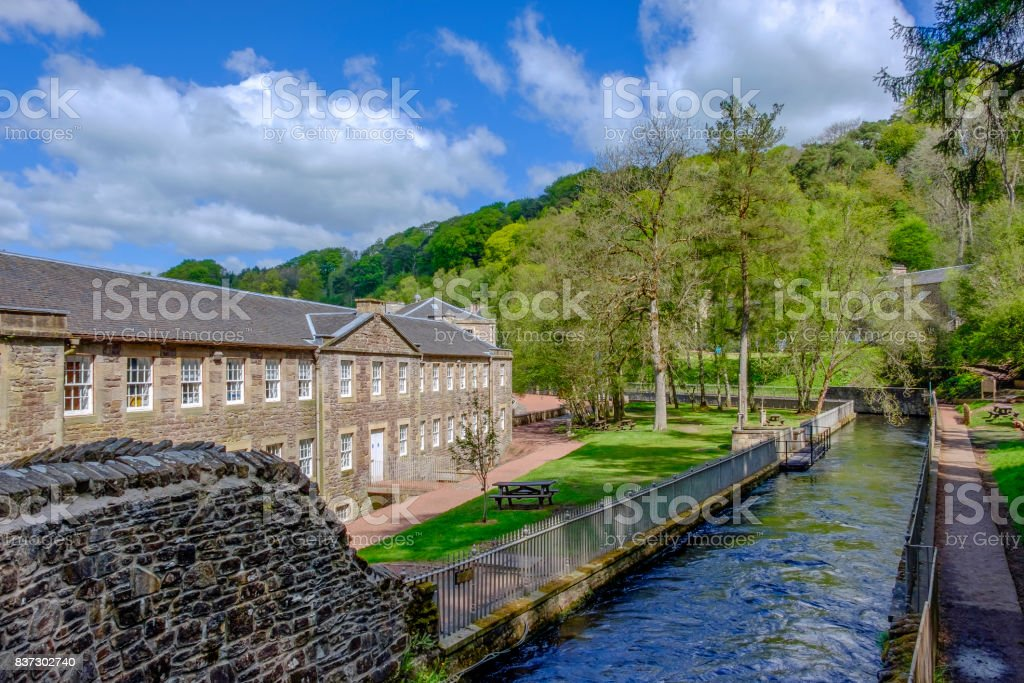 New Lanark, village on the River Clyde dating back to the 1786, a UNESCO World Heritage Sites. Scotland stock photo