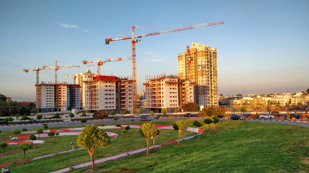 New land development project with tall residential towers is under the construction stock photo