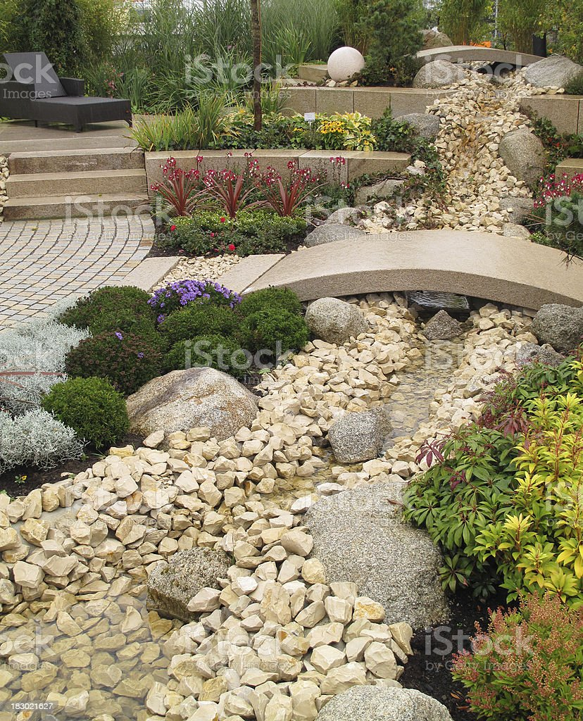 New landscaping with river and bridge stock photo