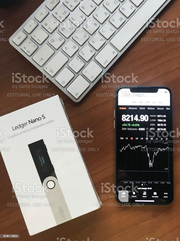 New Ledger Nano S cryptocurrency hardware wallet stock photo