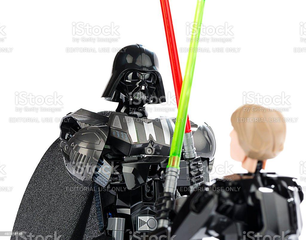 New Lego Figures of Darth Vader Vs. Luke Skywalker stock photo
