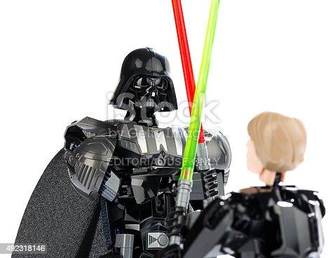 New Lego Figures Of Darth Vader Vs Luke Skywalker Stock Photo & More ...