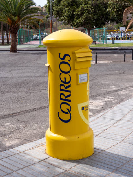 New letterbox of the Spanish Post Office, Correos stock photo