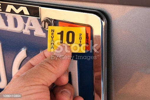 istock New License Plate Sticker Tag 1056410304