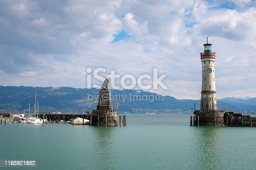 istock New lighthouse in Lindau with the bavarian lion at lake Constance, entry of harbor 1165921852