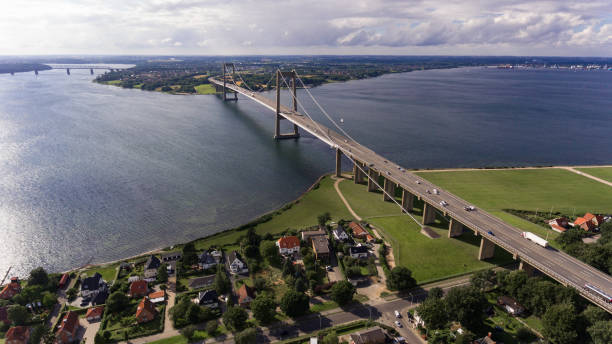 new little belt bridge from drone view - denmark stock photos and pictures
