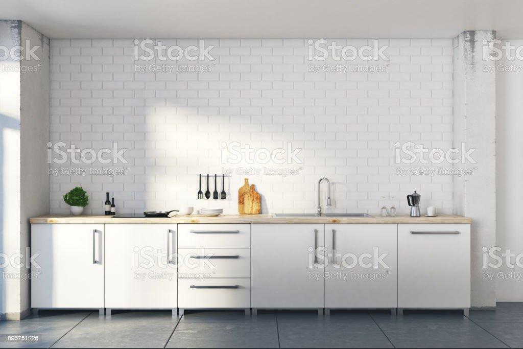 New loft white kitchen interior stock photo