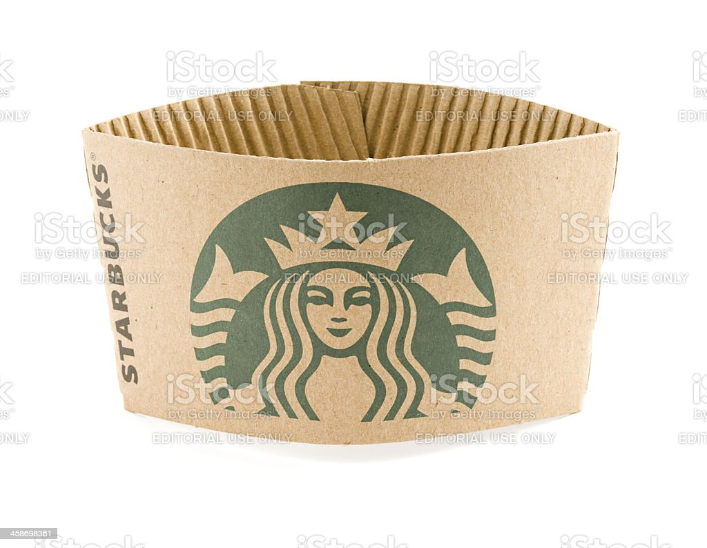 New Logo on Starbucks Cup Sleeve stock photo