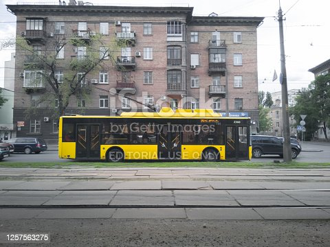 Kyiv, Ukraine - May 2020: New low-floor yellow trolleybus Bogdan on the streets of Kiev.