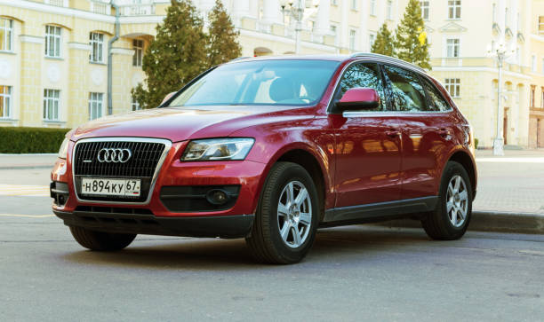 New luxury Audi Q5 parked on the street of Smolensk City. stock photo