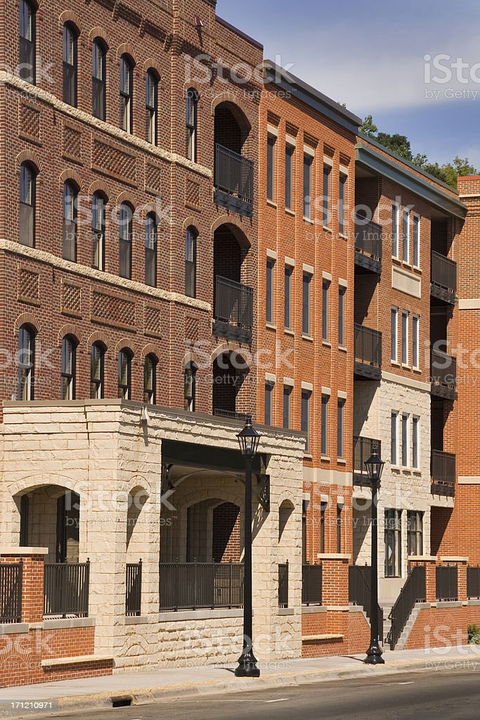 New Luxury Condo Units, Red Brick Brownstone Homes, Stillwater, Minnesota royalty-free stock photo