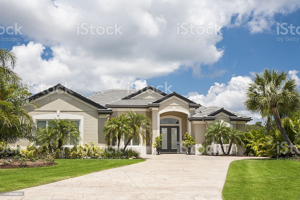 New Luxury Home with Palm Trees. stock photo