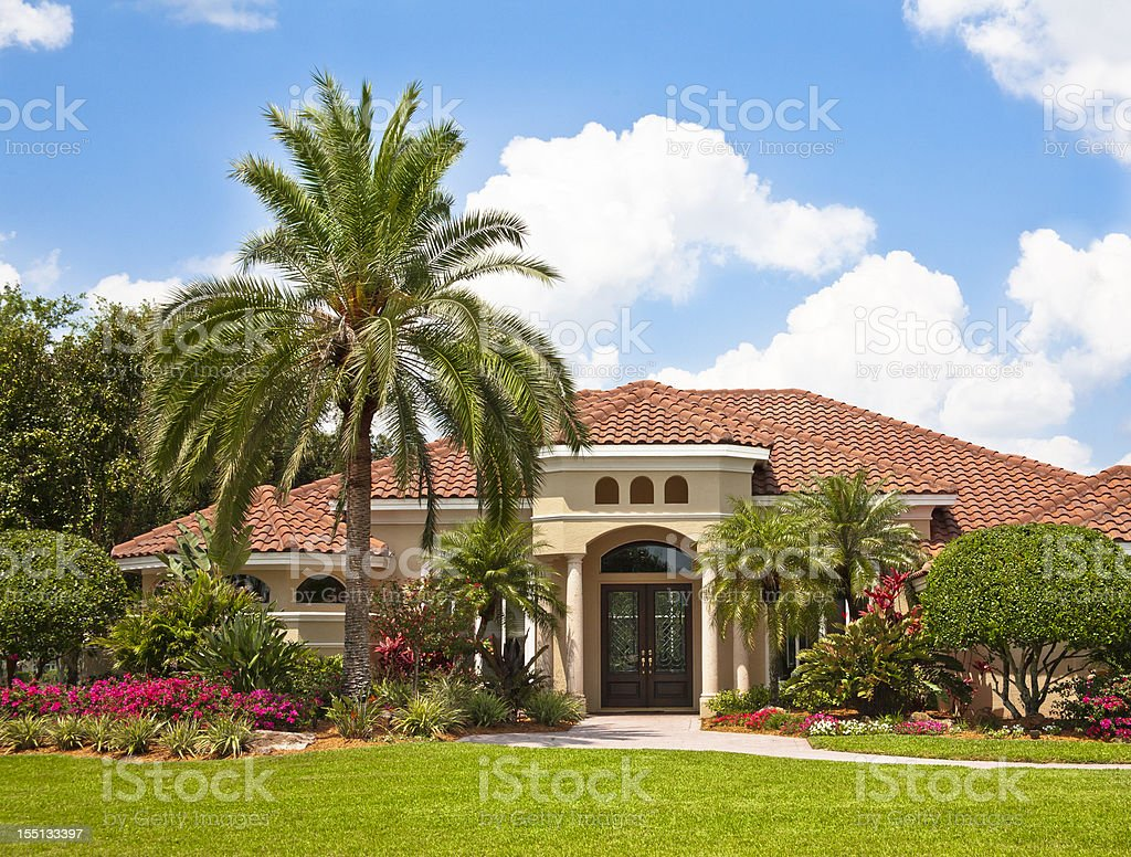 New Luxury Home with Tropical Garden stock photo