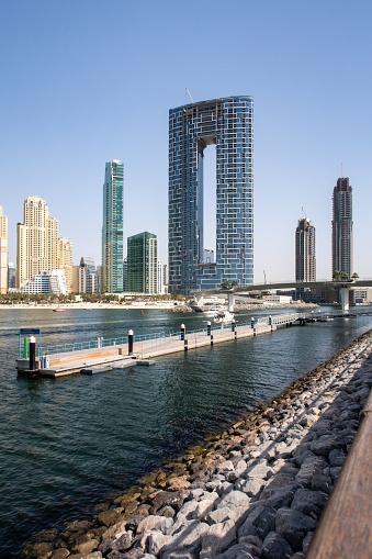 Dubai, United Arab Emirates, 02/07/2020. New luxury The Address Residences Jumeirah Resort and Spa building, Jumeirah Beach Residence view.