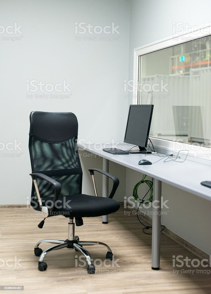 New made modern workplace in the factory. stock photo