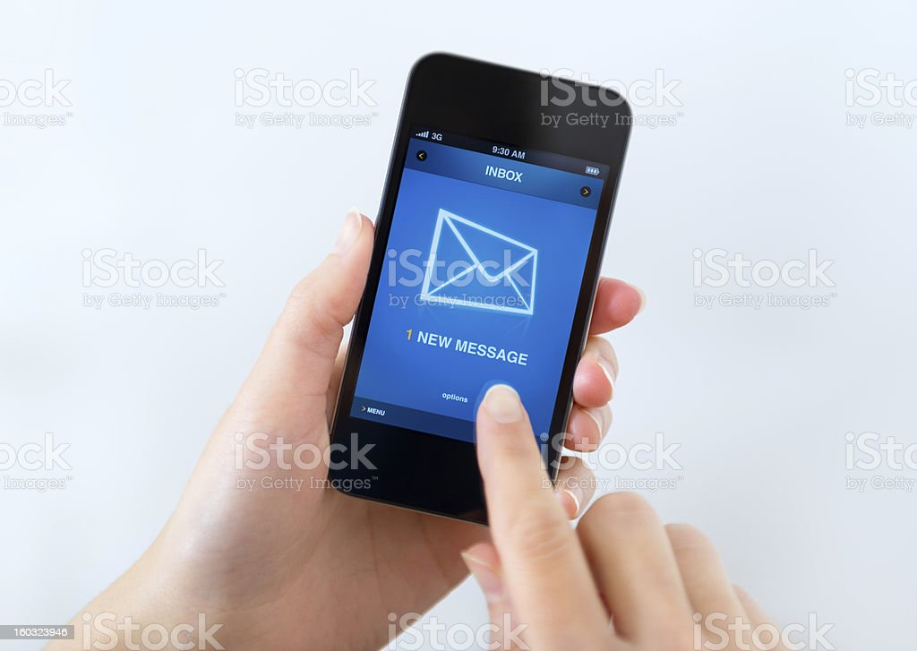 New mail message on mobile phone stock photo