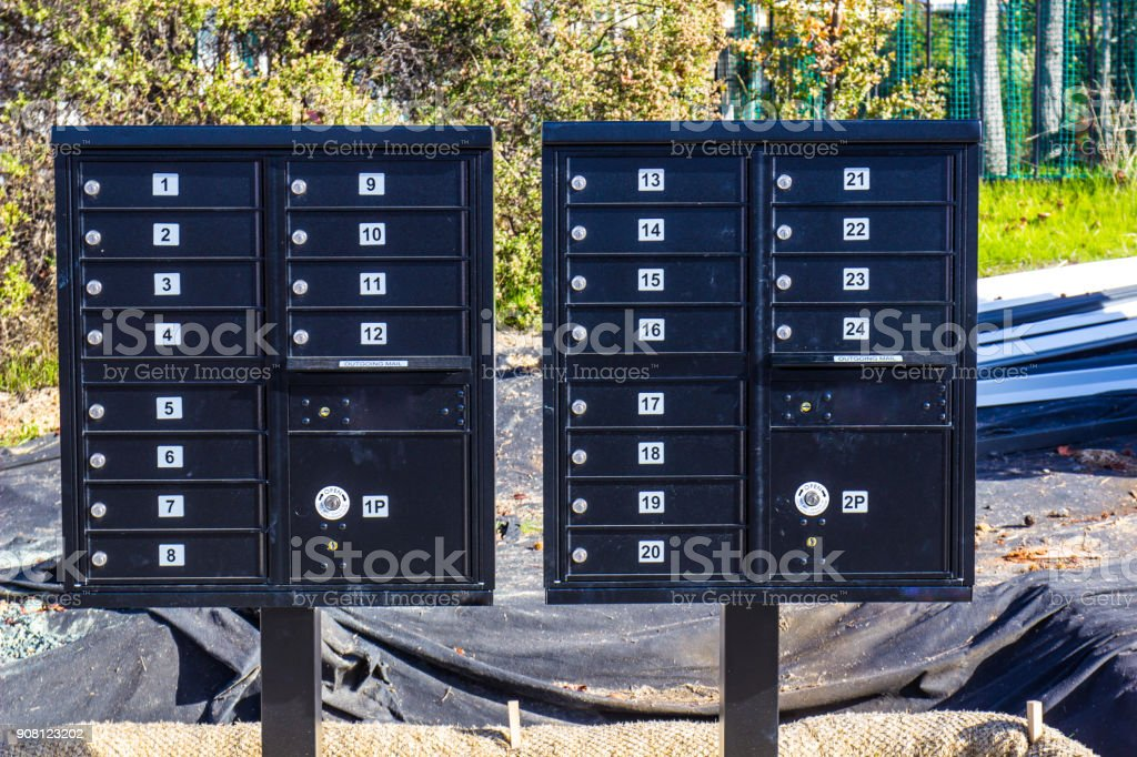 New Mailboxes For New Construction Homes stock photo