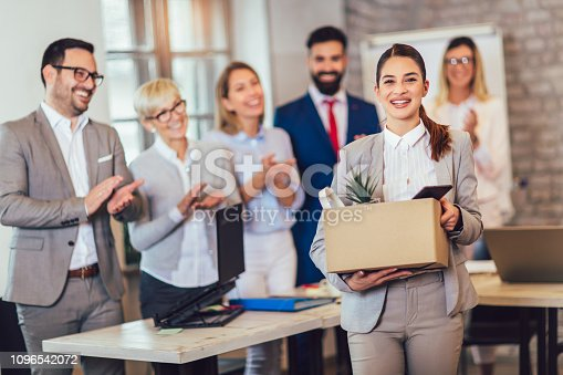 639540494 istock photo New member of team, newcomer, applauding to female employee, congratulating office worker with promotion 1096542072