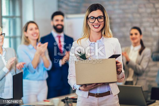 639540494 istock photo New member of team, newcomer, applauding to female employee, congratulating office worker with promotion 1130749017