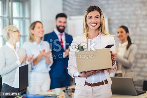 639540494 istock photo New member of team, newcomer, applauding to female employee, congratulating office worker with promotion 1138642830